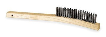 TOUGH GUY 1VAF4 Curved Scrtch Brush, Rows 3 x 19,SS Wire