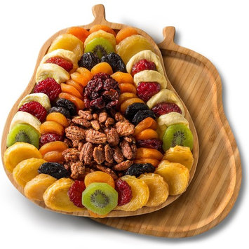Golden State Fruit Dried Fruit Tray with Nuts on Pear Shaped Bamboo Cutting Board