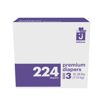 First Quality Consumer Products Jetcares Diapers, One Month Supply, Size 3, 224ct
