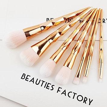 Beauties Factory 7 pcs Glossy Rose Gold Diamond Makeup Brushes Foundation Blush Eyeshadow
