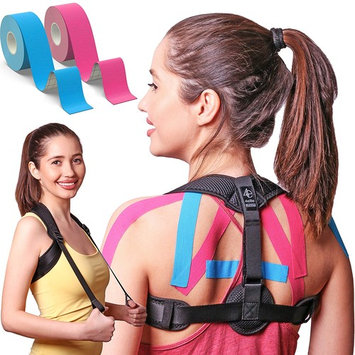 Posture Corrector for Women and Men | Front Adjustable Clavicle Brace | Back Brace for Posture Correction | Improve Bad Posture | Kinesiology Tape included by 4Elite []
