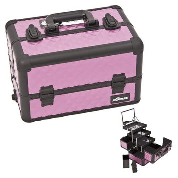 Diamond Pattern Interchangeable Professional Cosmetic Makeup Train Case