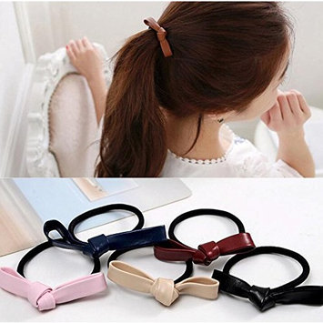 12PCS Elastic Double Knotted Bows Rubber Band Elastic Hair Band for Girl Women Baby Teen Kid Toddler (Color Random)