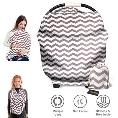 Eligara Nursing Covers, Extra-Large & Breathable, Breastfeeding Blanket Wrap Scarf Shawl Letter Clothes Stretchy Baby Car Seat Covers with Storage Bag