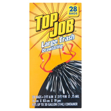 Top Job 30 Gallon Container Large Trash Drawstring Trash Bags, 28 count