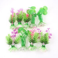 9PCS Small Hearted-Shaped Leaves Water Grass Green Fuchsia for Aquarium