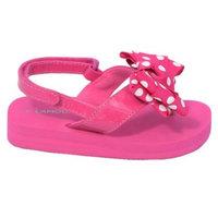 L'Amour Fuchsia Polka Dot Bow Wedge Flip Flop Sandal Toddler Girl 5-10