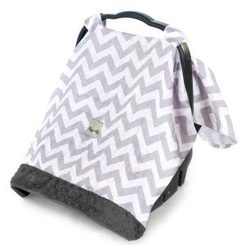 Cozy Happens Muslin Infant Car Seat Canopy - C Grey Chevron
