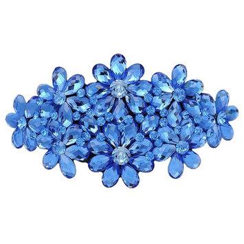 AENMIL Woman's Headwear Acrylic Hair Clip Diamond Crystal Hairpin Upscale Flourishing Hair Accessories - Blue