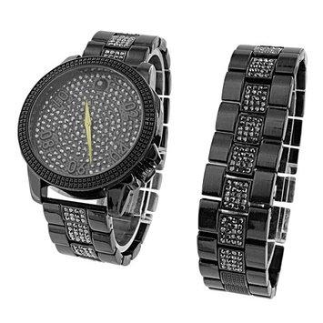 Black Mens Watch Bracelet Gift Set Black Simulated Diamonds Master Off Bling 47 MM