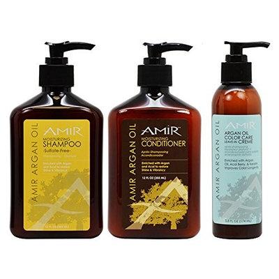 Amir Moisturizing Shampoo & Conditioner 12oz & Argan Oil Color Care Leave-in Creame 5.8oz