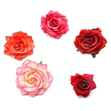 MAISHO 5 Pack Rose Flower Brooch Floral Hair Clips for Women Rose Hair Accessories Wedding