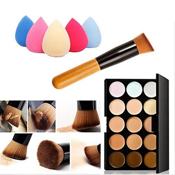 Usstore Concealer Contour Palette + Water Sponge Puff + Makeup Brush Makeup Face Powder Blusher Toothbrush Curve Foundation Brush For Women Lady by Usstore