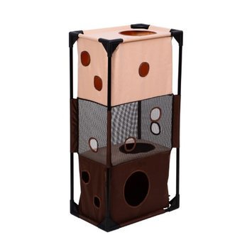 Pawhut 36 Square 3-Story Vertical Cat Activity Tower - Beige and Coffee