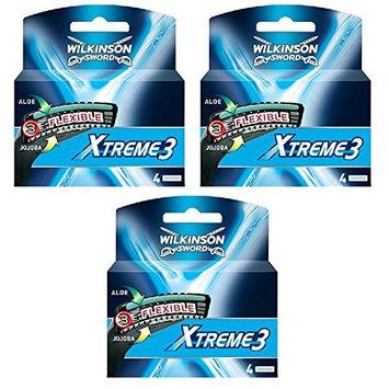Wilkinson Sword Xtreme3, 4 Count Refill Blades (Same As Schick Xtreme 3 Catridges) Pack of 3 + FREE LA Cross 71817 Tweezer