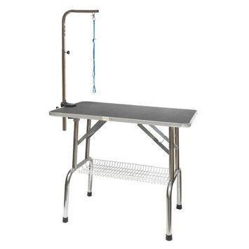 Go Pet Club Heavy Duty Stainless Steel Pet Dog Grooming Table with Arm [assembled_product_length: assembled_product_length-48.0]