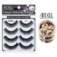 Ardell MEGA VOLUME 4-PACK, 251 BLACK, Multipack Lashes, Contains 4 Pair of Eye Lashes (with bonus Skin/Hair GLITTER) (251 Black (Mega Volume))