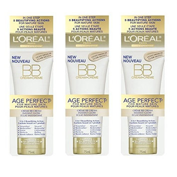 LOreal Paris Age Perfect BB Cream Instant Radiance, 2.5 Ounce - 3 Pack + FREE Scunci Black Roller Pins, 18 Pcs