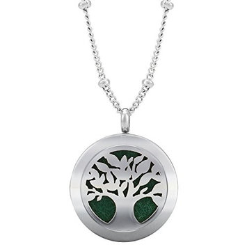 Earth Therapy Silver Aromatherapy Pendant Essential Oil Diffuser Necklace 24