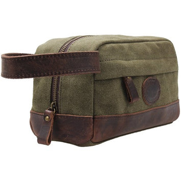 TINTAO Vintage Canvas Toiletry Bag Leather Trim Shaving Dopp Kit Cosmetic Makeup Case TB2 (green)