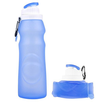Miami Carryon Collapsible Silicone Bottle - 20fl oz/550ml, BPA Free, FDA Approved, Easy to Store and Clean - Blue