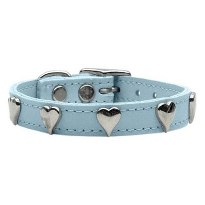 Mirage Pet Products 8315 12BBL Heart Leather Baby Blue 12