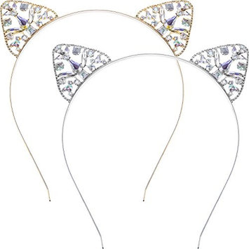 Maxdot Glitter Crystal Cat Ears Headband Hair Hoop for Daily Decoration, Fancy Dress Party, 2 Pieces, Gold and Silver