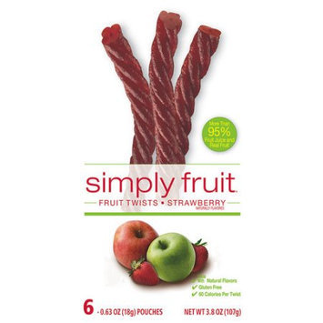 Simply Fruit Strawberry Fruit Twists, 0.63 oz, 6 count