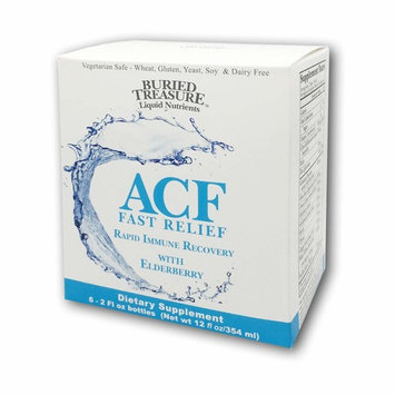 Buried Treasure ACF Fast Relief Vitamin C, Elderberry, Echinacea and Herbal Blend for Complete Immune Support and Rapid Recovery Dietary Supplement - 2 oz Bottles; Package of 6.