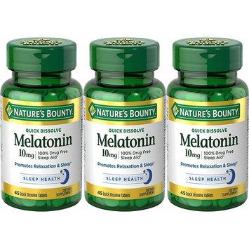Nature's Bounty Melatonin 10 mg, 135 Quick Dissolve Tablets (3 X 45 Count Bottles)