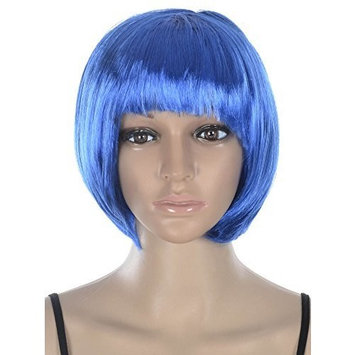 Simplicity Women's Costume Party Short Straight Bob Full Hair Wig, Blue