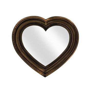 Antique Bronze Heart Shaped Mirror (Pack Of 1)