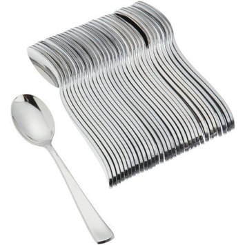 Mozaik 32-Piece Disposable Teaspoons, Silver, (Pack of 6)
