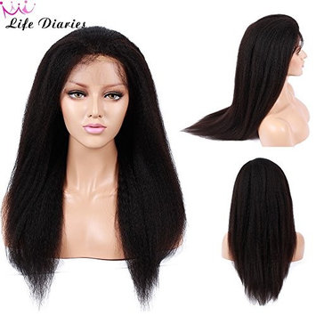 NO TANGLE 10A Silk Top Lace Front Wig 130% Density Pre Plucked Kinky Straight Natural Color Brazilian Virgin Human Hair Wigs for All Skin Women 18 Inch