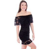 Women's Off Shoulder Dress Lace Top, Made in USA, Black, S