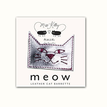 MEOW! Leather Kitty Barrette - Small - Silver