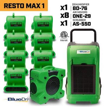 Bludri BLUEDRI RESTO MAX 1 8x One-29 Air Movers Carpet Dryer Blower Floor Fan 1x BD-76 Commercial Dehumidifier 1x Air Scrubber Negative Air Machine Green