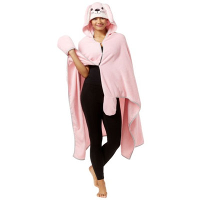 PJ Couture Womens Hooded Poncho Robe lightpink One Size