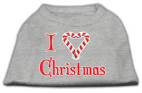 Mirage Pet Products 512508 XXXLGY I Heart Christmas Screen Print Shirt Grey XXXL 20