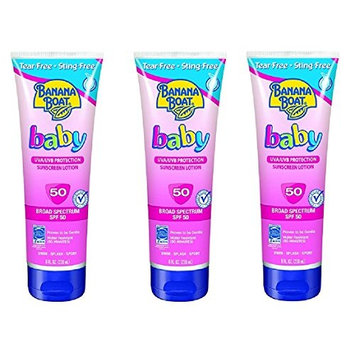 Banana Boat Baby Sunscreen Lotion SPF 50, 10 Ounce (3 Pack) + FREE Assorted Purse Kit/Cosmetic Bag Bonus Gift