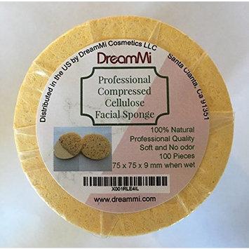 DreamMi 100 PCS, Size Small, Professional Round Compressed Cellulose Facial Sponge, Soft, Natural, Eco Friendly