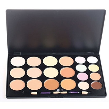 PhantomSky 20 Colors Cream Concealer Camouflage Makeup Highlighter Contour Palette Combination with Brush - Perfect for Professional and Daily Use