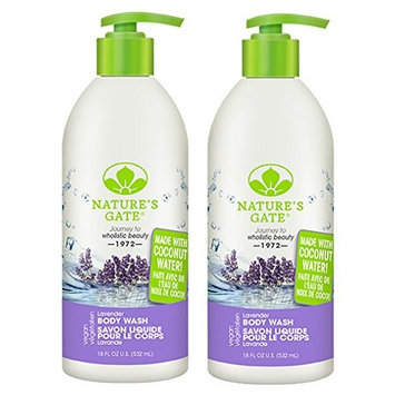 Nature's Gate Lavender Body Wash (Pack of 2) with Lavender Oil, Daisy Flower Extract, and White Lupine Seed Extract, 18 fl. oz.