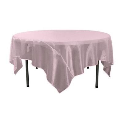 LA Linen TCOrgz90X90-PinkLght137 Sheer Mirror Organza Square Tablecloth Light Pink - 90 x 90 in.