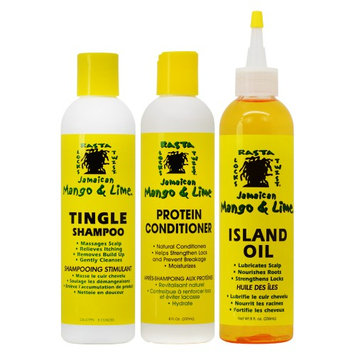 Jamaican Mango & Lime Tingle Shampoo +Conditioner + Island Oil 8oz 'Set' (Pack of 3)