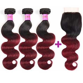 Brazilian Ombre Two Tone Body Wave Human Hair 3 Bundles With 4X4 Lace Closure Ombre Hair T1B/Burgundy (12 14 16 inch + Closure 12)