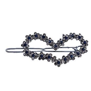 2 Pieces Bridal Full Rhinestone Love Heart Hair Barrettes Pin Clip