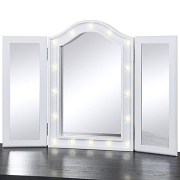 Best Choice Products Lit Tabletop Tri-Fold Vanity Mirror w/LED Lights