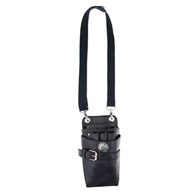 MagiDeal Real Leather Barber Scissors Shears Combs Clips Tools Holder Pouch Waist Bag - Dark Blue