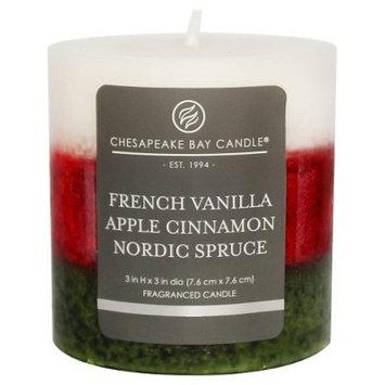 Layered Pillar Candle Vanilla/Cinnamon/Nordic Spruce 3